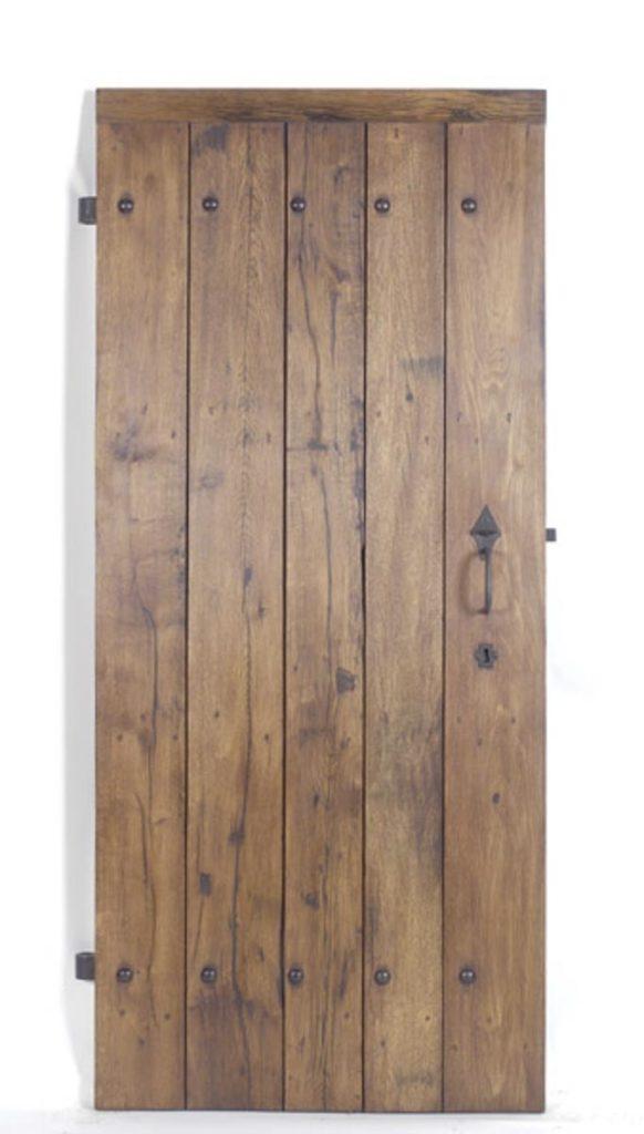 Porte à lames en vieux chêne - plancher de wagon Image