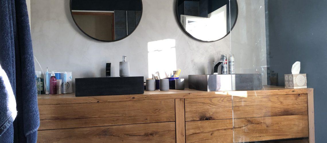 meuble vasque en vieux bois